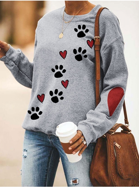 Dresswel Women Dog Paw Heart Graphic Print Pullover Relaxed Fit Sweatshirts Tops