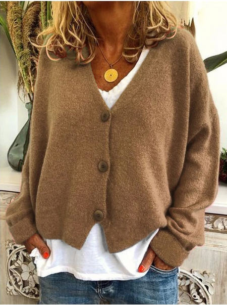 Dresswel Women Solid Color Long Sleeve V Neck Buttons Down Knitted Cardigan Tops