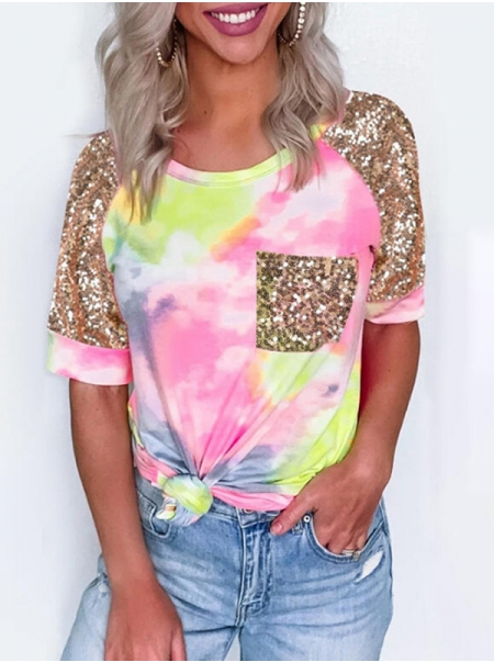 Dresswel Women Fashion Tie Dye Print Sequins Splicing O Neck Raglan Sleeves T-Shirt Tops