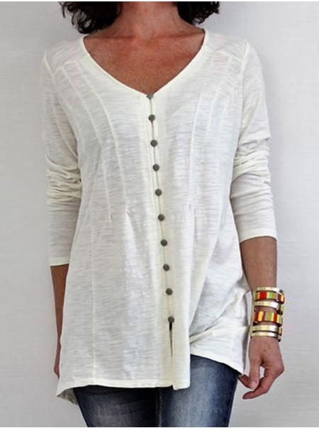 Dresswel Women Solid Color Button V Neck Long Sleeve Casual Pullover Blouse Tops
