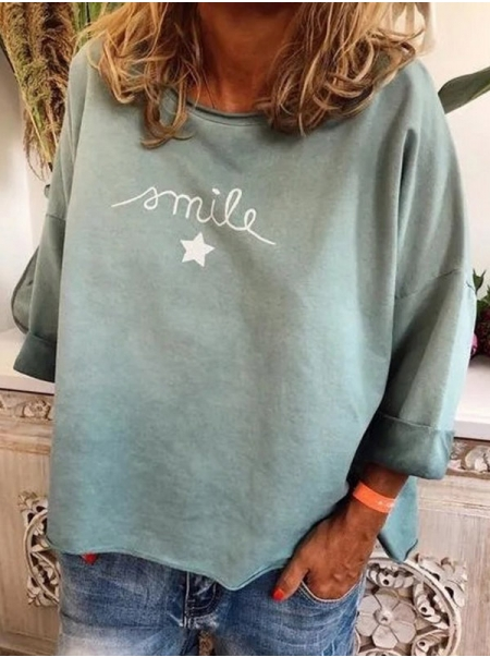 Dresswel Women Smile Star Print Long Sleeve Retro Style Round Neck Pullover Tshirt