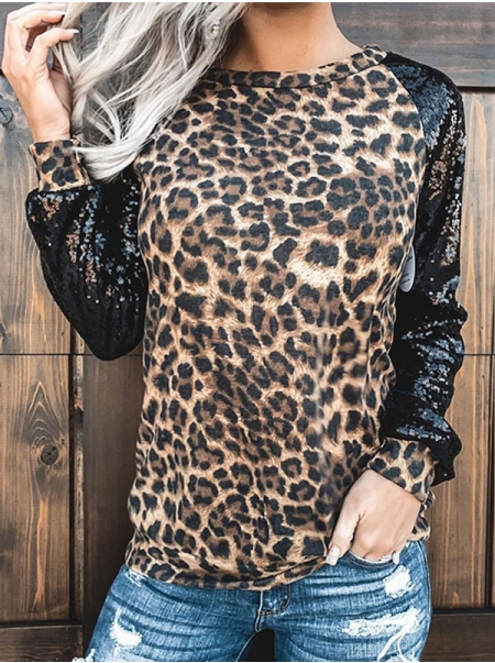 Dresswel Women Leopard Colorblock Crew Neck Long Sleeve Sequins Casual Fashion Tops
