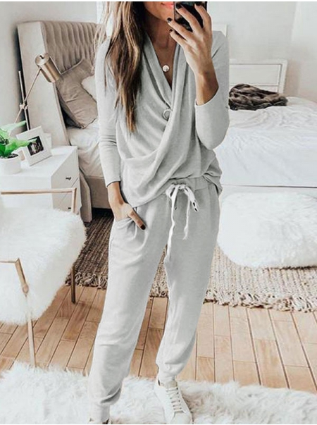 Dresswel Women Solid Color V Neck Long Sleeves Sports Casual Tops Pants Outfits 2 Pieces