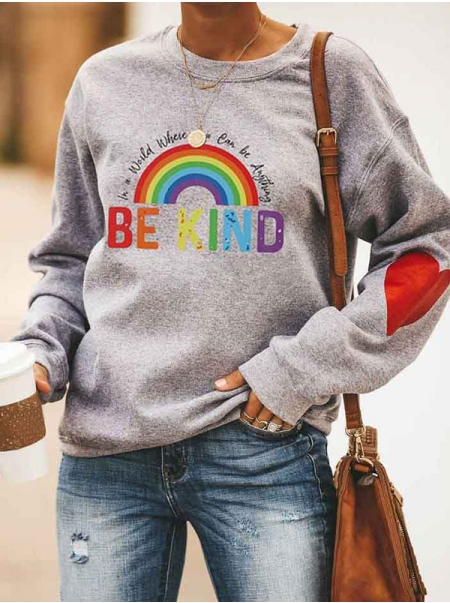 Dresswel Women in A World Where You Can Be Anything Be Kind Rainbow Sweatshirts