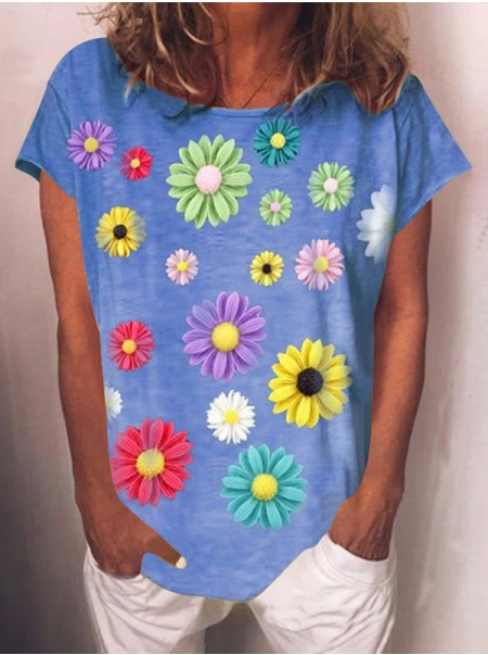 Dresswel Women Flowers Print Round Neck Short Sleeved Tshirt Tops Loose Street Tee