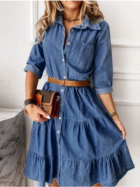 Dresswel Women Button Down Denim Midi Dress with Lapel Collar Casual A-line Sundress