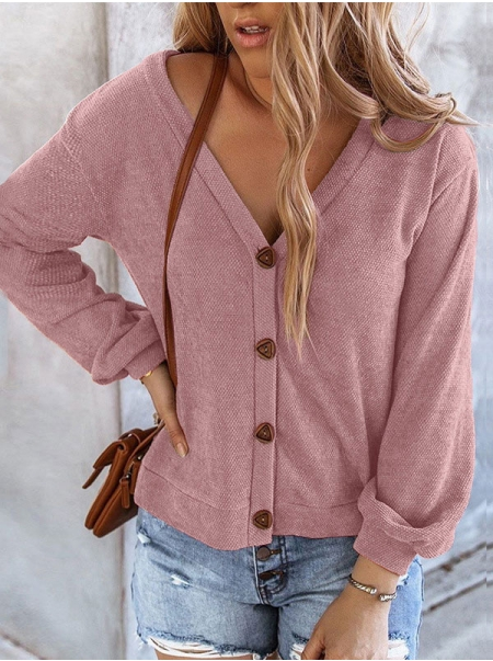 Dresswel Women Button Long Sleeve V Neck Sweater Cardigan Tops Solid Color Knitwear