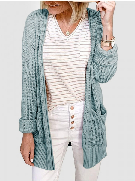 Dresswel Women Solid Color Knitted Pocket Long Sleeve Waffle Check Cardigan Tops