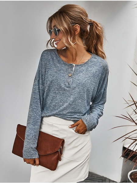 Dresswel Women Button Up Round Neck T Shirt Vintage Long Sleeve Knit Comfy Tops
