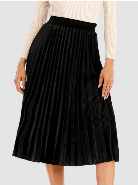 Dresswel Women Solid Color High Waist Elastic A-Line Pleated Skirt Loose Fit Casual Pleuche Skirt Bottoms