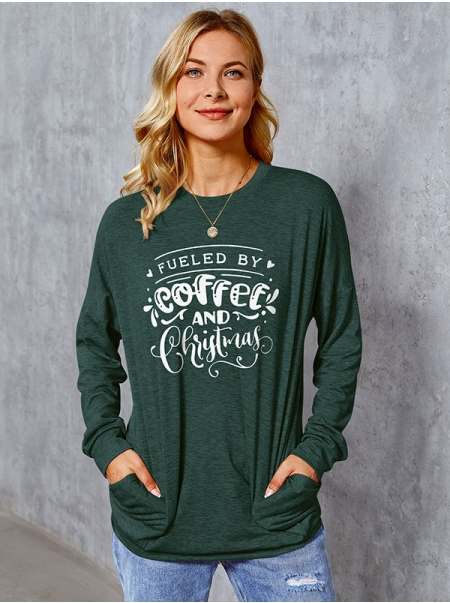 Dresswel Women Fueled By Coffee and Christmas Print Festival T-shirt Sweatshirt Tops