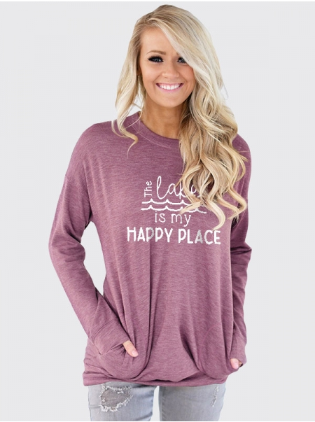 Dresswel Women The Lake Is My Happy Place Letter Printed Crew Neck Pocket Blouse Tops
