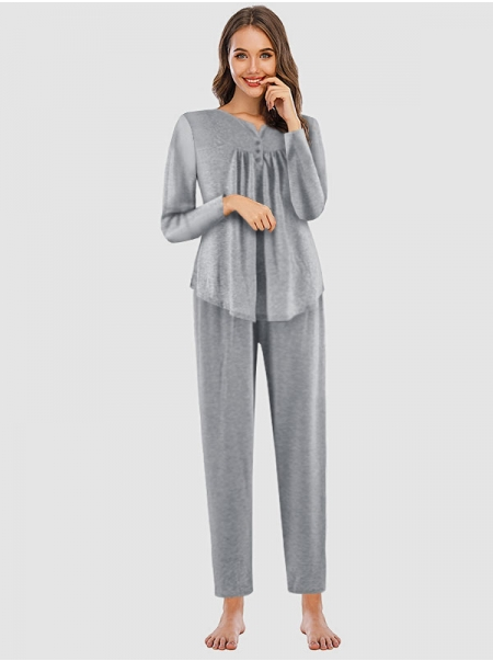 Dresswel Women Solid Color Buttons V Neck Long Sleeve Casual Comfy Tops Pants Sleepwear Tops