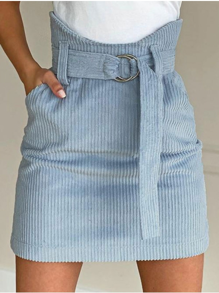 Dresswel Women Solid Color High Waist Skirt with Pockets Waistband Sexy Comfy Casual Fashion Mini Skirt Bottoms