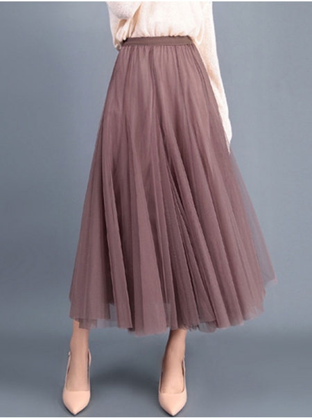 Dresswel Women Solid Color Mesh Fashion High Waist Loose Fit Elastic Waist A-line Full Skirt Bottoms