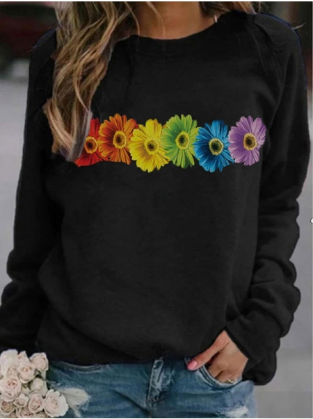 Dresswel Women Rainbow Color Sunflower Floral Graphic Colorful Sweatshirts Tops