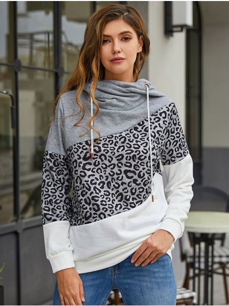 Dresswel Women Color Block Leopard Printed Drawstring Hooded Pullover Hoodie Tops