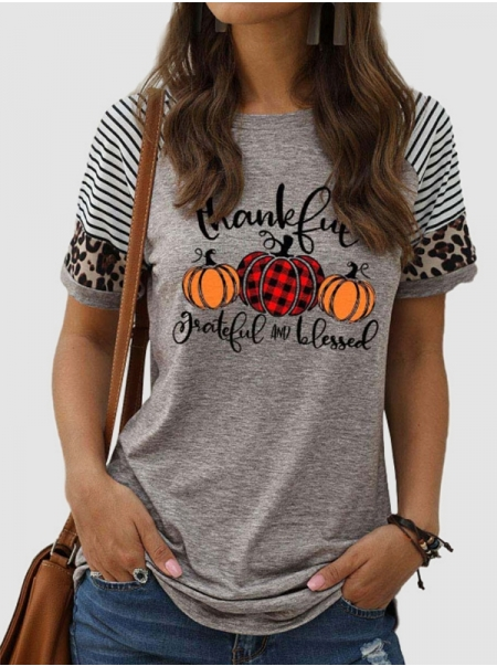 Dresswel Women Thankful Greatful And Blessed Pumpkin Print Thanksgiving Day T-shirts Tops