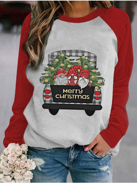 Dresswel Women Color Block Merry Christmas Letter Print Crew Neck Long Sleeve T-shirt Top