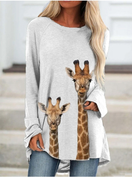 Dresswel Women Giraffe Animal Graphic Print Tunic Long Sleeve Blouse Tops