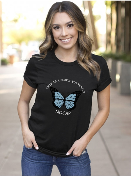 Dresswel Women THIS IS A PURPLE BUTTERFLY NOCAP Butterfly Graphic T-Shirt Tops