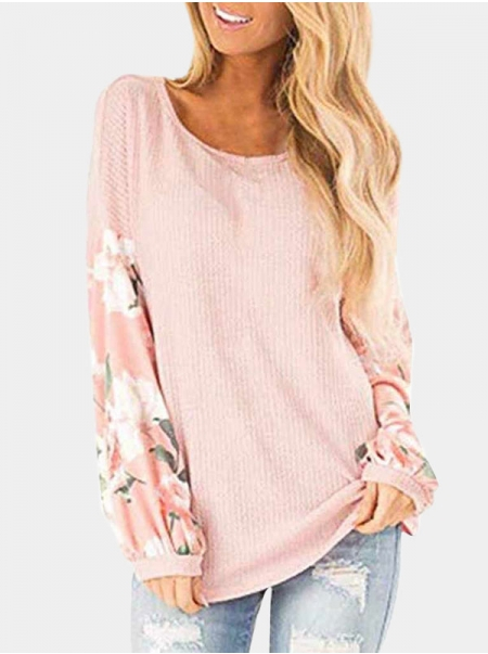 Dresswel Women Floral Print Pullover Back Hollow Crew Neck Long Sleeves Sweater Top