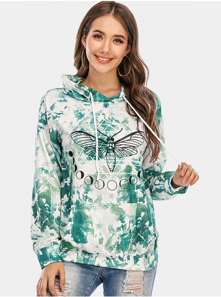 Dresswel Women Tie Dye Circle Bee Graphic Printed Drawstring Hooded Hoodie Tops