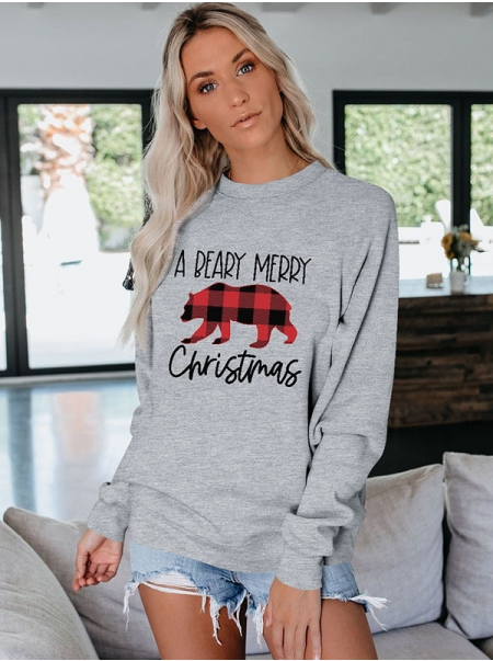 Dresswel Women A Beary Merry Christmas Letter Graphic Printed Crew Neck Casual Fashion Sweatshirts Tops