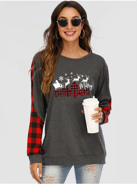 Dresswel Women Merry Christmas Letter Graphic Printed Crew Neck Plaid Colorblock Long Sleeve Blouse Tops