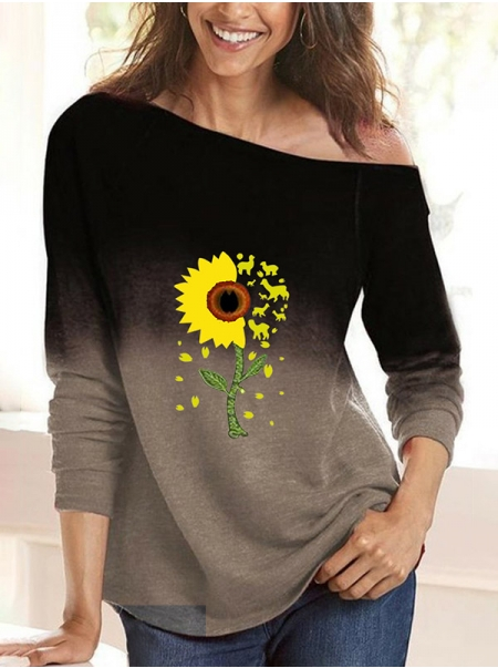 Dresswel Women Sunflower Animal Graphic Print Crew Neck Gradient Blouse Tops