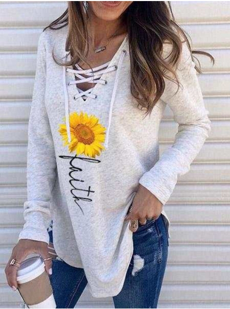 Dresswel Women Sunflower Print Faith Letter Print V  Neck Long Sleeves T-shirt Top