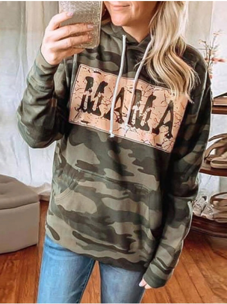 Dresswel Women Crew Neck MAMA Letter Print Pocket Casual Camouflage Hoodies Tops