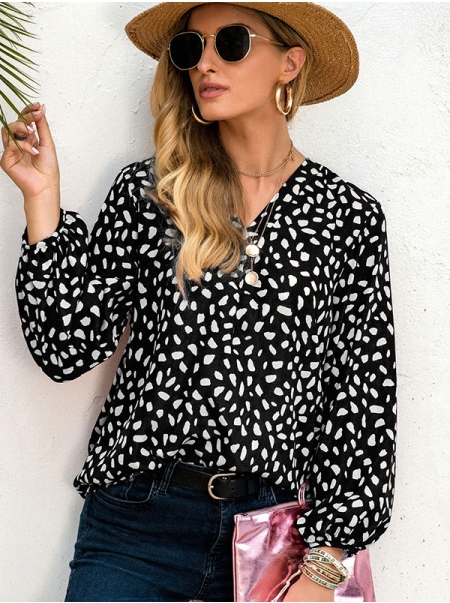 Dresswel Women V Neck Floral Printed Long Sleeve Casual Fashion Shirts Blouse Tops