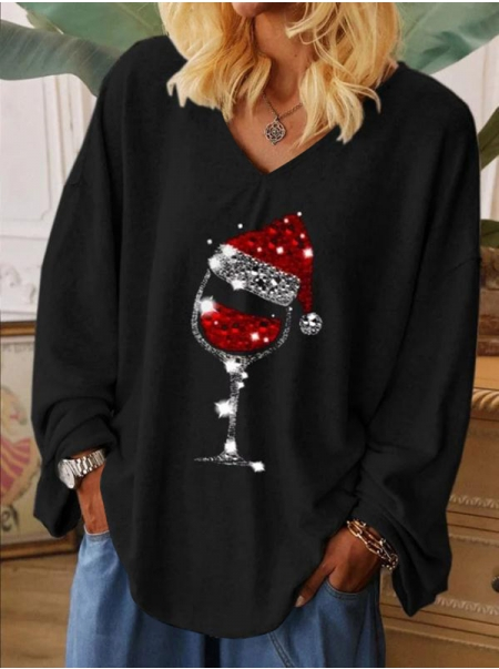 Dresswel Women Solid Color V Neck Christmas Hat Wine Glass Graphic Print Blouse Tops