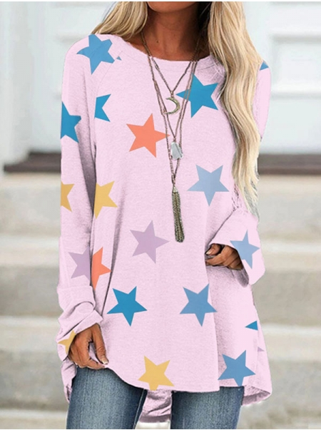 Dresswel Women Stars Graphic Printed Round Neckline Long Sleeve Loose Pullover T-Shirts Tops