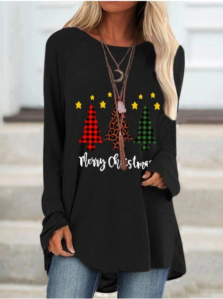Dresswel Women Merry Christmas Stars Trees Leopard Plaid Letter Graphic Blouse Tops