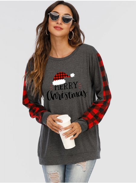 Dresswel Women Merry Christmas Letter Graphic Printed Long Sleeve Crew Neck Holiday Blouse Tops
