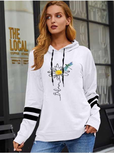 Dresswel Women Believe Dragonfly Floral Letter Graphic Hooded Drawstring Hoodie Tops