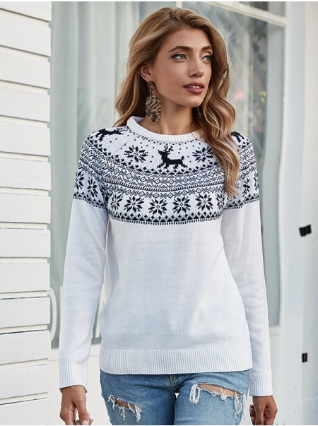 Dresswel Women Christmas Snowflake Fawn Print Pullover Oversized Knitwear Sweater Tops