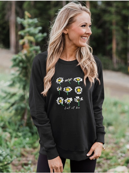 Dresswel Women Let It Be Daisy Letter Graphic Floral Printed Loose Sweatshirts Tops
