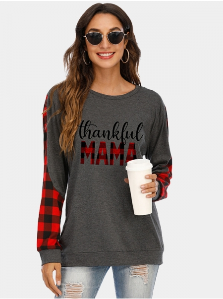 Dresswel Women Thankful Mama Plaid Letter Print Thanksgiving Day Loose T-shirt Tops