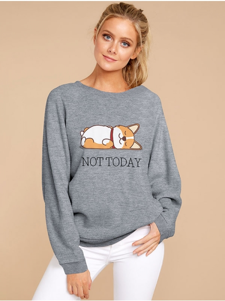 Dresswel Women Not Today Corgi Dog Letter Graphic Printed Loose Sweatshirts Tops
