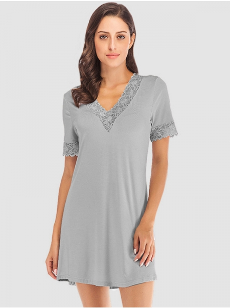 Dresswel Women V Neck Long Sleeve Solid Color Lace Stitching Casual Nightgown Sleepwear Tops
