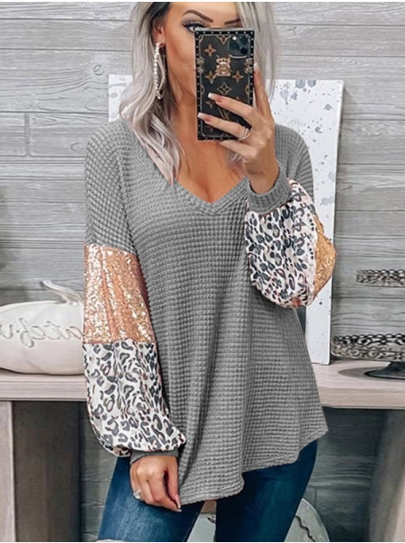 Dresswel Women V Neck See Through Waffle Sequins Leopard Color Block Blouse Tops