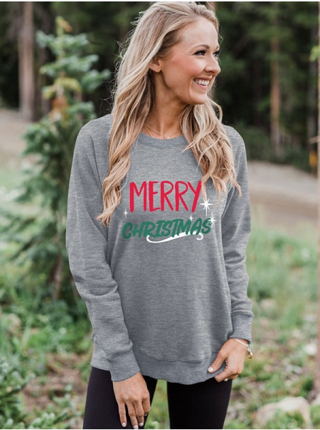 Dresswel Women Merry Christmas Red And Green Printed Letter Starlight Sweatshirts Tops