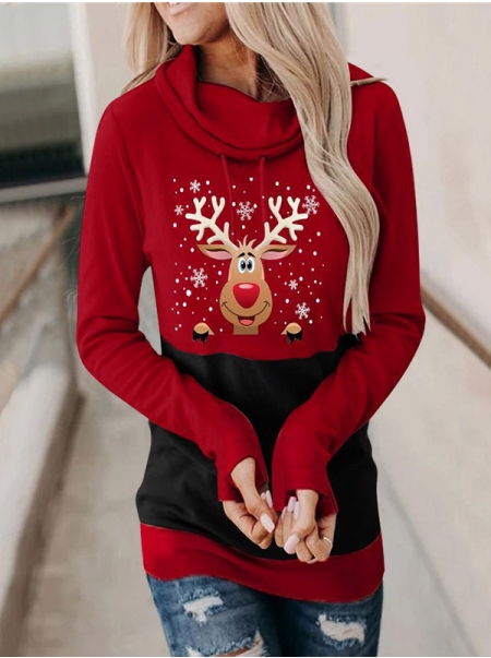 Dresswel Women Reindeer Graphic Printed Color Block Christmas Drawstring Hoodie Tops