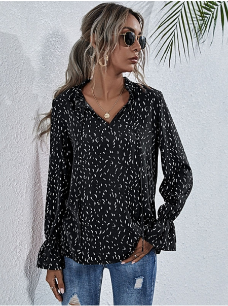 Dresswel Women Polka Dots Strappy Pullover V Neck Bell Sleeves Blouse Top
