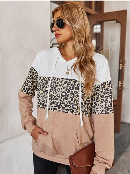 Dresswel Women Leopard Colorblock Crew Neck Long Sleeve Casual Loose Pocket Hoodies Tops