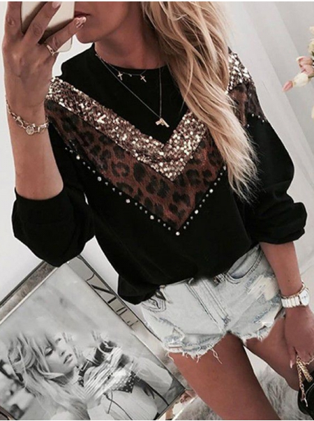 Dresswel Women Leopard Splicing Sequin Spliced Crew Neck Long Sleeves Sweatshirt Top