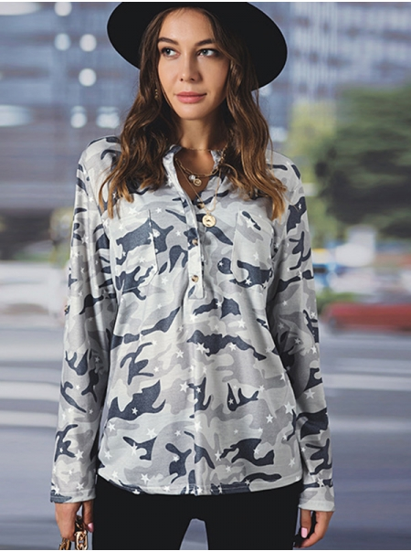 Dresswel Women Camouflage Print Pocket Stand Collar Long Sleeves Blouse Top